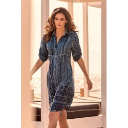 Iconique - Sandra 3/4 Sleeve Shirt Dress Denim