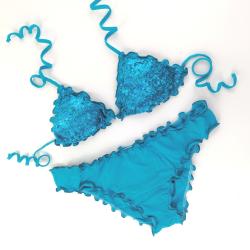 Triangle Bikini Paillettes Turquoise Classic Bottom