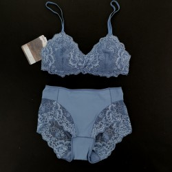 Greta Triangle Bra + Greta Classic Bottom  - Light Blue Lace