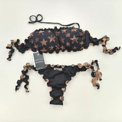 Bandeau Bikini Paillettes Stellina Black Brazilian Bottom
