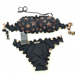 Bandeau Bikini Paillettes Stellina Black Classic Bottom
