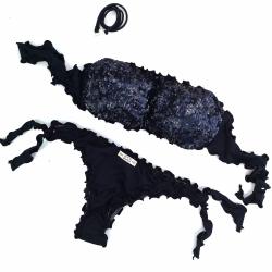 Bandeau Bikini Paillettes Black Brazilian Bottom