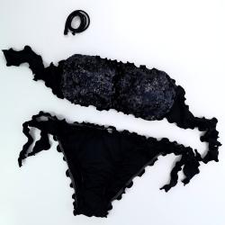 Bandeau Bikini Paillettes Black Bikini Bottom