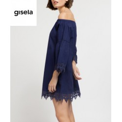 Gisela - Abito Nero Traforato con Scollatura Bardot