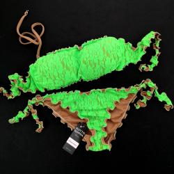 Bandeau Bikini Lace Fluo Green Bikini Bottom