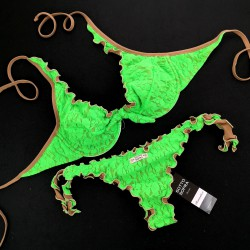Wired Bra Cup C D Lace Fluo Green Brazilian Bottom