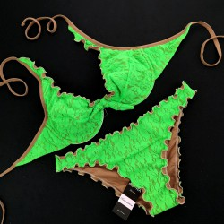Wired Bra Cup C D Lace Fluo Green Classic Bottom