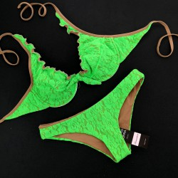 Wired Bra Cup C D Lace Fluo Green Low Waist Bottom