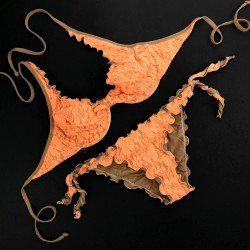 Wired Bra Cup C D Lace Fluo Orange Bikini Bottom
