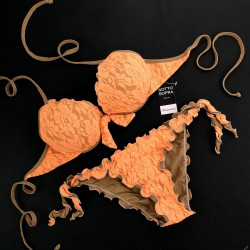 Push Up Bikini Lace Fluo Orange Bikini Bottom