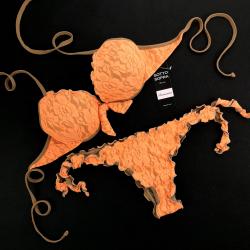 Push Up Bikini Lace Fluo Orange Brazilian Bottom