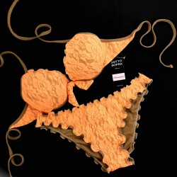Push Up Bikini Lace Fluo Orange Classic Bottom