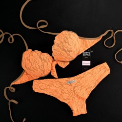Push Up Bikini Lace Fluo Orange Brazilian Smooth Bottom