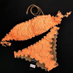 Bandeau Bikini Lace Fluo Orange Classic Bottom