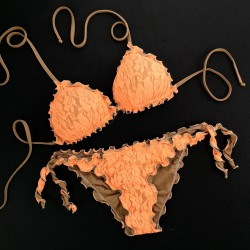 Triangle Bikini Lace Fluo Orange Bikini Bottom
