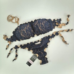 Bandeau Bikini Lace Night Blue Brazilian Bottom