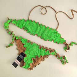 Bandeau Bikini Girls 4-16y Lace Fluo Green Bikini Bottom