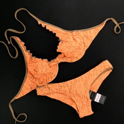 Wired Bra Cup C D Lace Fluo Orange Brazilian Smooth Bottom