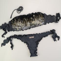 Bandeau Bikini Paillettes Ematite Brazilian Bottom