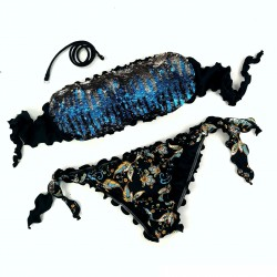 Bandeau Bikini Paillettes Black Princess Limited Bikini Bottom
