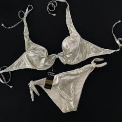 "Wired Bra Cup C D Bikini Gold Gothic ""Stellina"" Bikini Bottom Mini"