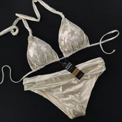 "Triangle Bikini Gold Gothic ""Stellina"" Classic Bottom 5 cm High"