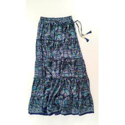 Long Skirt FreeLove Ibiza Blue 100% Silk