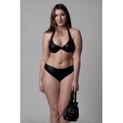 "Wired Bra Cup C D Bikini Black Gothic ""Stellina"" Classic Bottom 5 cm High"