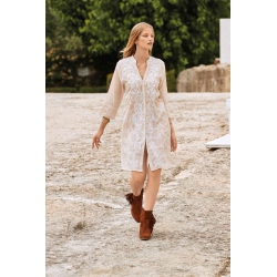 Iconique - Elena 3/4 Sleeve Shirt Dress Beige - IC21-026