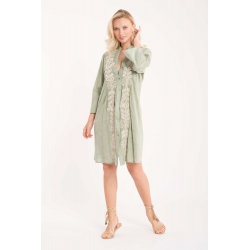 Iconique - Elena 3/4 Sleeve Shirt Dress Green - IC21-026