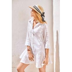 Iconique - Romina 3/4 Sleeve Shirt Dress Bianco - IC21-002