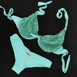 Wired Bra Cup C D Paillettes Tiffany Brazilian Bottom