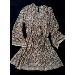 Short Dress FreeLove Ibiza Hazelnut Gold 100% Silk