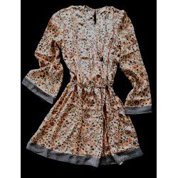 Short Dress FreeLove Ibiza Apricot Flowers 100% Silk