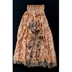 Skirt FreeLove Ibiza Apricot Flowers 100% Silk