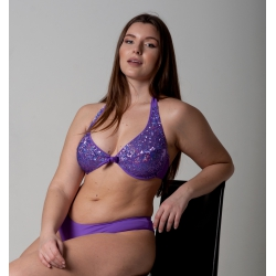 Wired Bra Cup C D Paillettes Miss Purple Classic Bottom