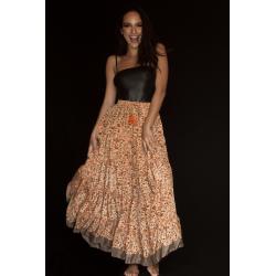Long Skirt FreeLove Ibiza Apricot Flowers 100% Silk