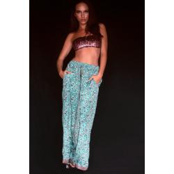 Pantaloni FreeLove Ibiza Fiori Tiffany 100% Seta