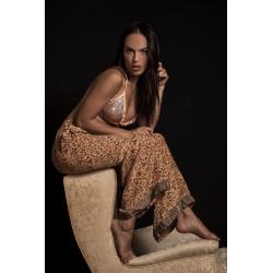 Trousers FreeLove Ibiza Apricot Flowers 100% Silk