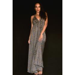 Tie Neck Dress FreeLove Ibiza Anthracite 100% Silk