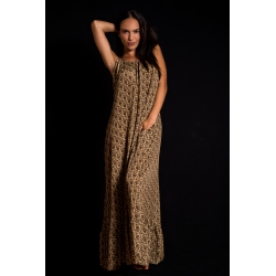 Long Dress Moon FreeLove Ibiza Hazelnut Gold 100% Silk