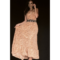 Long Dress Moon FreeLove Ibiza Apricot Flowers 100% Silk