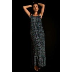 Long Dress Moon FreeLove Ibiza Blue 100% Silk