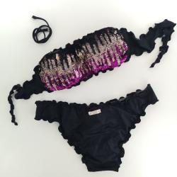 Bandeau Bikini Paillettes Nero Bali Classic Bottom