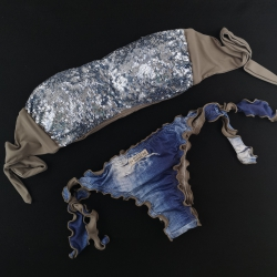Bandeau Bikini Paillettes Specchio Blue Powder Brazilian Jeans Bottom