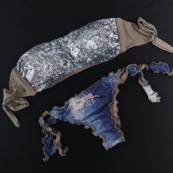 Fascia Paillettes Specchio Azzurro Polvere Slip Jeans Brasil