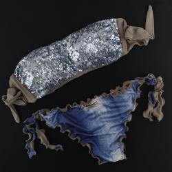 Bandeau Bikini Paillettes Specchio Blue Powder Bikini Jeans Bottom