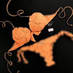 Push Up Bikini Lace Fluo Orange